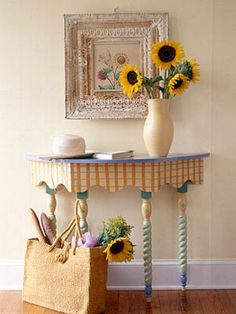 In the home office, pale yellow walls like these pictured allows lots of possibilities to add happy tones. I love the sunflowers paired with the whimsical table. With some paint and patience, I would transform a boring computer desk into a table with this kind of whimsy!  #goodhousekeeping and #happyroom