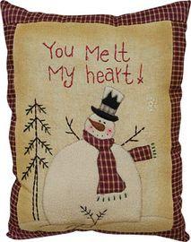 """Snowman """"You Melt my Heart"""" prim pillow. Love it!!"""