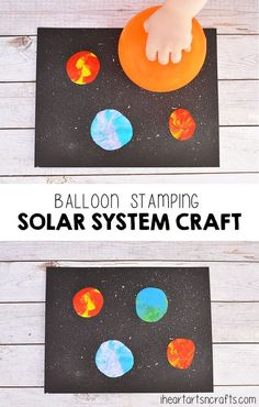 Balloon Stamping Solar System Craft For Kids - I Heart Arts n Crafts- emily fuchs Outer Space Crafts For Kids, Space Activities For Kids, Space Preschool, Craft Activities, Preschool Crafts, Art For Kids, Kids Crafts, Daycare Crafts, Toddler Crafts