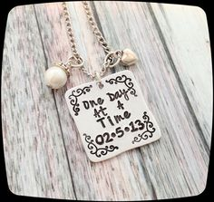 Sobriety Gift, One day at a time, Sobriety, Addiction Recovery Necklace or Key Chain, Sobriety Date Key ring