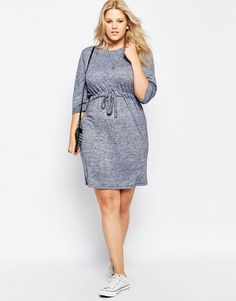 Plus Size Waisted Chuck on Dress in Jersey