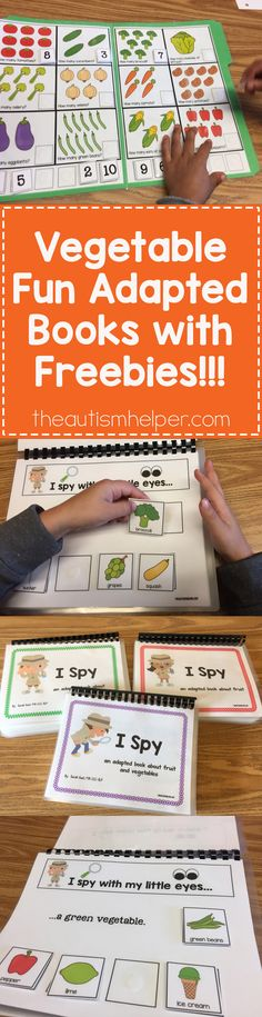 """Sarah's sharing her adapted book """"I Spy Veggies"""" plus giving us tips for follow up activities for speech therapy on the blog! Don't miss out on some FREEBIES!! From theautismhelper.com #theautismhelper"""