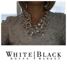 White House Black Market Silver Chunky Necklace Beautiful necklace never worn! Chunky chain with two lengths. Shiny silver in excellent condition. Not very heavy since individual chain links are hollow. White House Black Market Jewelry Necklaces
