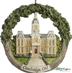 Guernsey County Courthouse in Cambridge, Ohio sculpted ornament by Hestia Creations. #hestiacreations #customgift #marbleheadma #guernseycountycourthouse #cambridgeoh