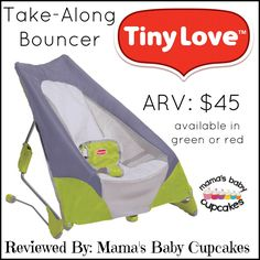 Tiny Love: Take-Along Bouncer Review. On the Go. Folds. Compact. Babies.