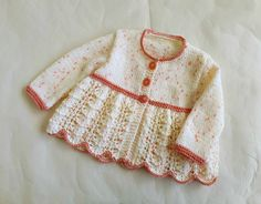 Feminine lacy baby girl cardigan, cream and peachy pink sweater, hand knit sweater for girl 3 - 6 months, baby knitwear, hand knit cardigan Baby Girl Cardigans, Girls Sweaters, Baby Sweaters, Lace Cardigan, Pink Sweater, Hand Knitted Sweaters, Some Girls, Baby Knitting, Knitwear