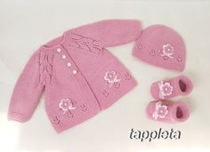 rose #baby set 3-6 Months #cardigan #knit hat and socks от tappleta