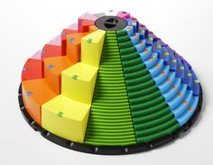 The colorful rotating structure is a model of math based on the times tables and number lines. All equivalent values are at the same height so you can see ..