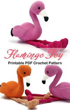 9 Crochet Flamingo Patterns – Cute Amigurumi Flamingo Toys - A More Crafty Life Crochet Flamingo, Flamingo Craft, Crochet Birds, Flamingo Pattern, Crochet Animals, Diy Crochet And Knitting, All Free Crochet, Cute Crochet, Crochet Toys