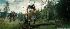 Optimus, Megatron Blackout Starscream y Sam en medio de la contienda de los organismos roboticos de Cybertron.