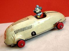 Vintage 1930's Mickey Mouse Wind Up Race Car 5 Tin Litho Toy J Schneider Co