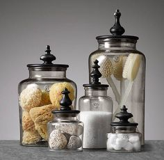 Pretty jars for bathroom staging
