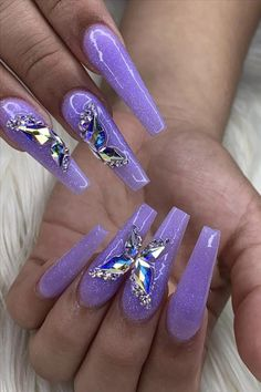 Natural butterfly na Bling Acrylic Nails, Best Acrylic Nails, Rhinestone Nails, Bling Nails, Swag Nails, Acrylic Nail Designs, Gel Nails, Butterfly Nail Designs, Butterfly Nail Art