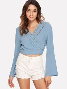 Blue Fashion, Girl Fashion, Lace Insert, Hot Pants, Types Of Shirts, Casual Dresses, Bell Sleeve Top, Ladder, Clothes For Women