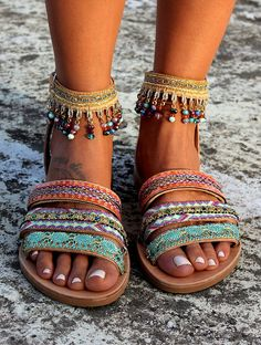 Handmade genuine greek leather sandals. Strappy sandals with three leather straps that embrace the foot and one ankle strap. Jamelia sandals are embellished with handsewn trims and lots of multicolored crystals. Very comfortable sturdy and elegant pair of footwear. Jamelia is like