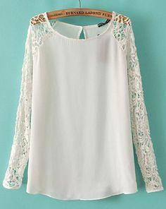 White Contrast Lace Long Sleeve Chiffon Blouse - Sheinside.com