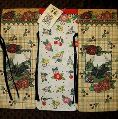 3 Mary Engelbreit Wine Bottle Coffee Gift Bags Fabric Reusable Recyclable New #StevensLinenAssociates