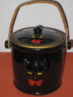 Vtg Shafford Japan Glazed Redware Black Cat 1950s 60s Cookie or Biscuit Jar | eBay