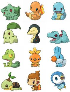 All of the starter Pokemon---in their corresponding type group, of course. Grass: turtwig, snivy, bulbasaur, chikorita, treecko. Fire: torchic, cyndaquil, chimchar, tepic, charmander. Water: oshawott, totodile, piplup, mudkip, squirtle - Google Search
