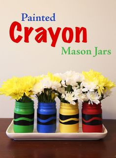 Painted Crayon Mason Jars, DIY and Crafts, DIY Painted Crayon Mason Jars. Perfect for back to school, teachers gifts, desk organization or back to school home decor. Quick Crafts, Cute Crafts, Crafts For Kids, Diy Crafts, Decor Crafts, Preschool Crafts, Mason Jar Projects, Mason Jar Crafts, Teacher Appreciation Gifts