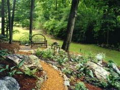By carving a mulch-covered path into the side of a hill, designer Patricia Thernell transformed a formerly unusable area into a quiet spot for enjoying the sounds of nature.