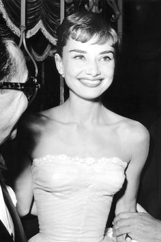 """ Audrey Hepburn at the premiere of ""Roman Holiday"" dir. William Wyler (1953)."""