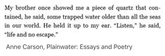 Anne Carson, Plainwater: Essays and Poetry Poem Quotes, Words Quotes, Sayings, Pretty Words, Beautiful Words, Nature Quotes, Writing Services, Essay Writing, Quotations