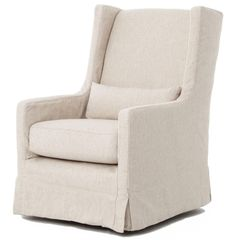Wilshire Modern Classic Slipcover Cream Linen Swivel Arm Chair | Kathy Kuo Home