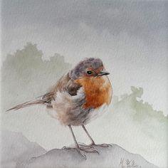 Un très beau premier oiseau à l'aquarelle par Marion Velten