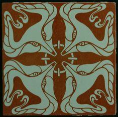 Art Nouveau tile Villeroy & Boch design by Otto Eckmann - Catawiki