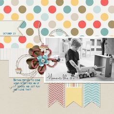 Great layout. I love the combination of the b/w photo with the bright colored papers and embellishments.