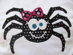 Kids Boutique Halloween Applique Shirt - Big Girl Spider