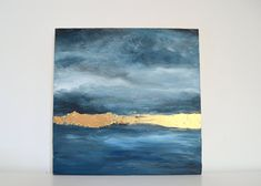 Original oil painting with Gold Leaf on wood panel of Stormy Skies, and deep Skyline Painting, Abstract Oil, Abstract Paintings, Watercolour Painting, Large Painting, Diy Canvas, Amazing Art, Landscape Paintings, Creations