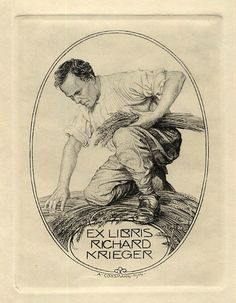 Bookplate by Alfred Cossmann for Richard Krieger, 1914