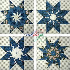 Inklingo LeMoyne Stars 9 inch - Get the kaleidoscope effect by printing identical sheets of fabric with Inklingo! This is not Stack n WhackTM!