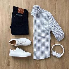 Weekend vibes ✌🏻 Featured is the Mandarin-Collar Oxford Shirt. The sleek Mandarin-Collar makes the shirt comfortable, durable, and versatile enough to be worn in a variety of situations. Please rate this outfit below ⤵️ . Stylish Mens Outfits, Casual Outfits, Fashion Outfits, Fashion Trends, Stylish Man, Outfit Grid, My Outfit, Shirt Outfit, Casual Wear