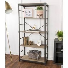 If you need a little more organization in your life, this bookshelf is the perfect piece. With 4 large shelves, it has ample storage space for all of the books and momentos you want showcased or 5 Shelf Bookcase, Bookshelves, Home Office Design, Home Office Decor, Office Ideas, Driftwood Shelf, Living Room Shelves, Rustic Office, Large Shelves