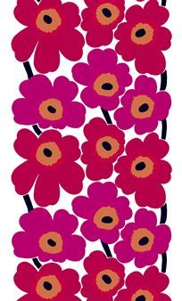 Marimekon ihastuttava, klassinen ja huippusuosittu 60-lukulainen Unikko, jossa on punaisia kukkia, on aina yhtä muodikas