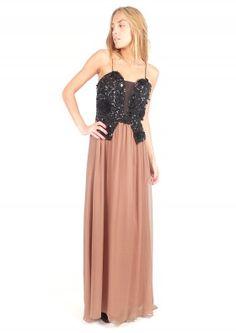 Vestido largo de seda con corsé bordado - Long silk dress with embroidery    www.sayan.es   SAYAN