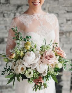 This is a fresh spring bouquet in the softest neutral champagne tones. Country Wedding Bouquets, Winter Bridal Bouquets, Bride Bouquets, Bridal Flowers, Bridesmaid Bouquet, Floral Bouquets, Spring Bouquet, Wedding Flower Inspiration, Wedding Ideas