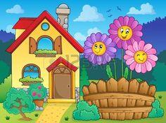 Casa y flores ilustración Small Drawings, Art Drawings For Kids, Drawing For Kids, Painting For Kids, House Painting, Cartoon House, House Illustration, Cute House, Fabric Houses