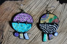 Colorful summer earrings fimo -- Colored pendant with circles and other shapes in polymer clay // Fimo jewelry