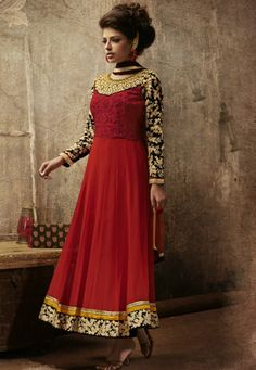 Red Georgette kameez designed with Lace,Multi Resham Stone Work.  INR:-7100 With Exciting Discount 25% !!
