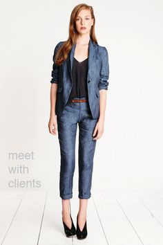 Love that this is suit-like, but I'd skip the jacket. These jeans are great.