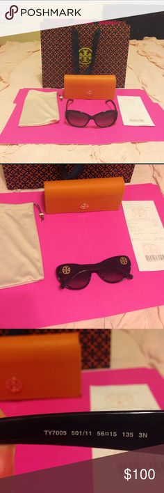 Tory Burch Cat Eye Sunglasses Tory Burch cat eye sunnies. TY7005 50/11 56•15 3N. No scratches. EUC. Includes cloth pouch and leather case. Case has some wear & tear from being kept in my purse, but it's still in good condition. Includes TB bag if you want it. Purchased at TB Orlando.   Please ask any questions. I want you to love it!   15% off 2+ bundles ♥️ Pet & Smoke Free Home   Usually ships in 1 business day Tory Burch Accessories Sunglasses