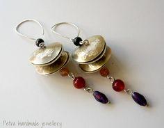 Orecchini in argento 925, ottone, onice, corniola, agata rossa, ametista, orecchini con pietre dure- gioiello fatto a mano- serie limitata