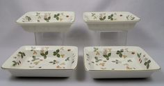 """Wedgwood Wild Strawberry Individual Bakeware Trays/Bowls, 6½"""" x 4-3/4"""" x 1½"""" deep. $69.50 ea, 4 available at vintagetabletop on ebay, 5/14/16"""