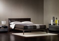 """Bed with a clean-cut decisive shape // Letto dalle forme decise e rigorose (Double Bed / Letto matrimoniale """"Alicudi"""" by Flou) #Beds #Bedroom #Letto #InteriorDesign #HomeDecor #Design #Arredamento #Furnishings #blackbed"""