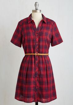 Countryside Crooning Dress. Perched on the porch in this plaid shirt dress, you strum a darling ditty inspired by the rolling hills. #red #modcloth