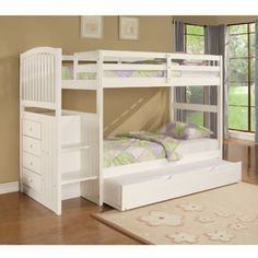 Angelica Twin over Twin Arch Spindle Bunk Bed with Storage Stairs